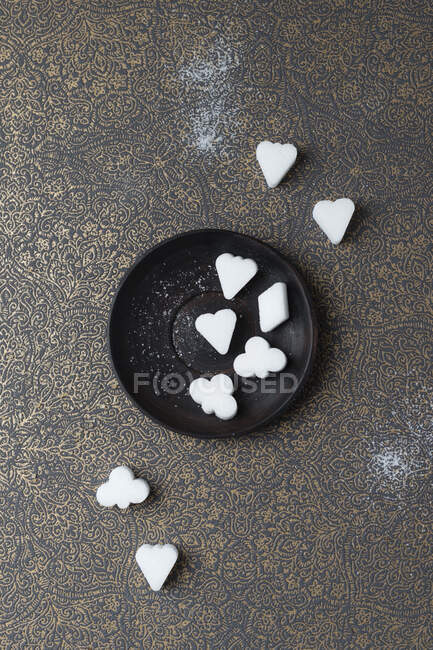 Valentine's day, heart shaped cookies, black background, top view — Stock Photo