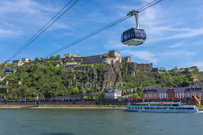 View of Ehrenbreitstein Fortress with River Rhine, Koblenz, Germany — Stock Photo