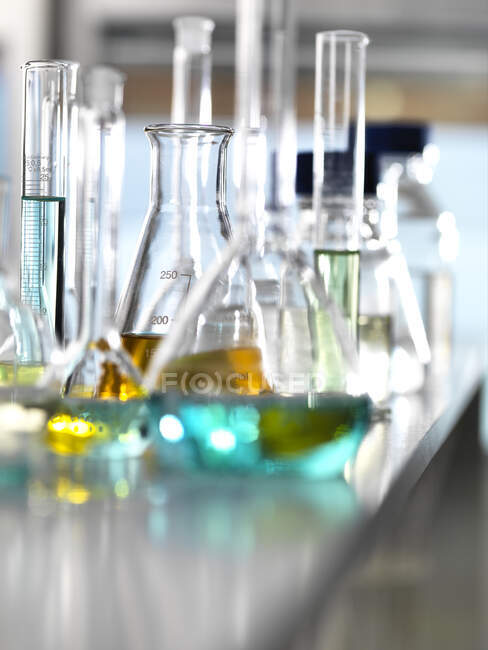 Chemical Research, A range of chemical formulas being developed in the laboratory for research into new products — Stock Photo