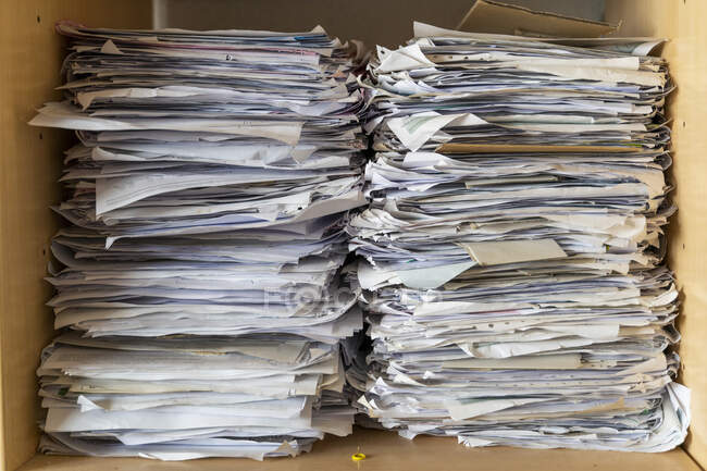 Pile of papers in shelf, close up — Stock Photo