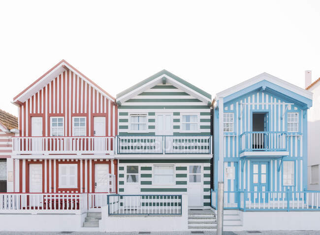 View of striped houses, Costa Nova, Portugal — Stock Photo