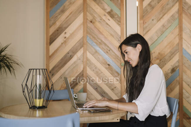 Young businesswoman using laptop at table in a cafe — Stock Photo