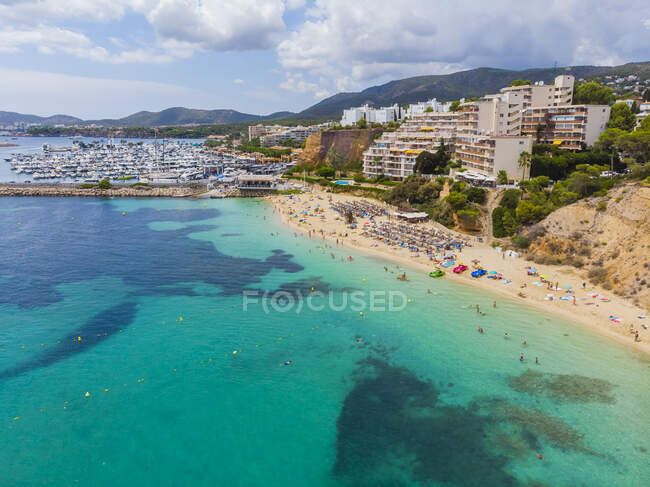 Spain, Balearic Islands, Mallorca, Aerial view of Portals Nous, beach Platja de S'Oratori — Stock Photo