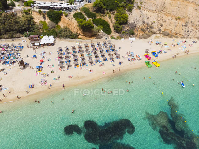 Spagna, Isole Baleari, Maiorca, Veduta aerea di Portals Nous, spiaggia Platja de S'Oratori — Foto stock