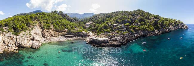 Spain, Balearic Islands, Mallorca, Cala Deia, Aerail view of bay — Stock Photo