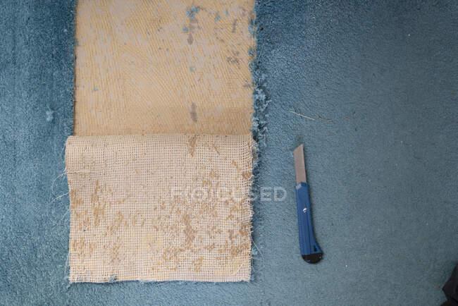 Розчищення старої килимки. — стокове фото
