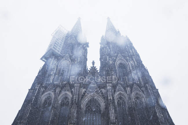 Low angle view of Cologne Cathedral in city during snowfall against sky — Stock Photo
