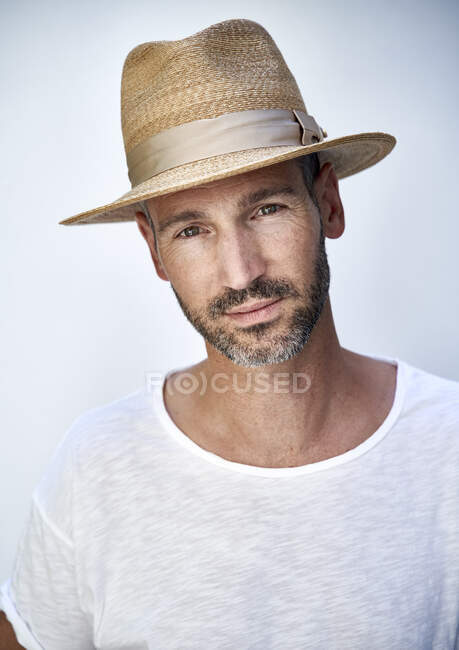 Portrait of mature man with hat — Stock Photo