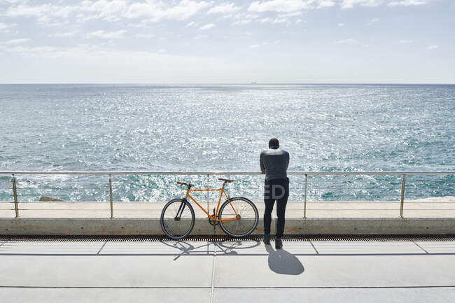 Rear view of man with bike on waterfront promenade — Stock Photo