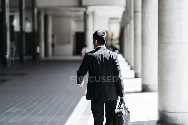 Rear view of young businessman walking in the city — Stock Photo