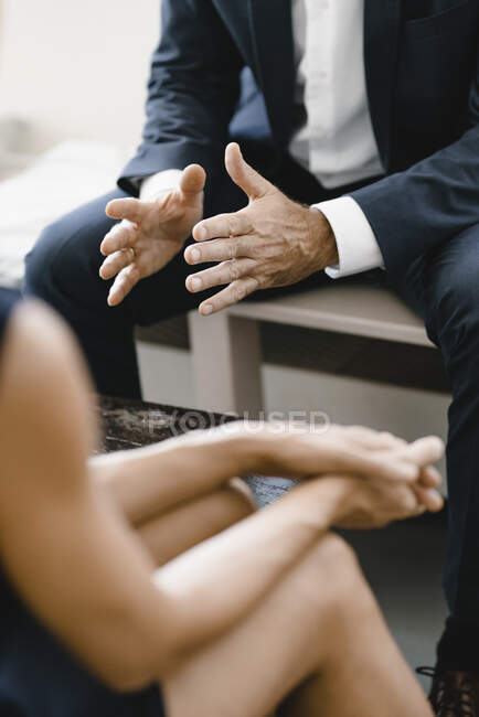 Business people having a meeting, close up of hands — Stock Photo