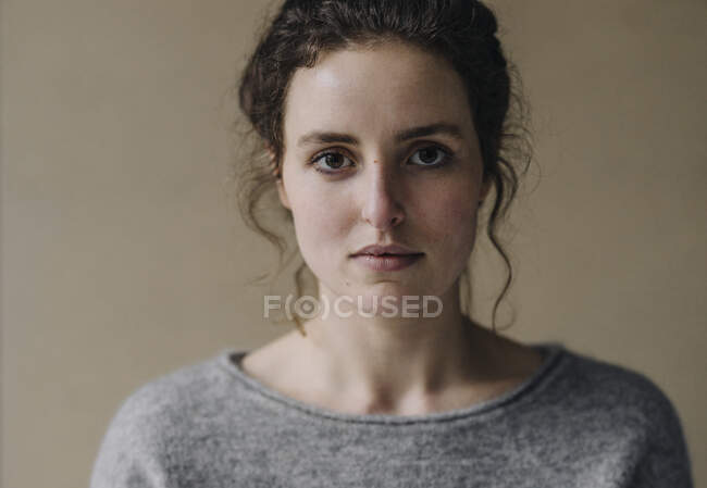 Portrait of serious young woman — Stock Photo
