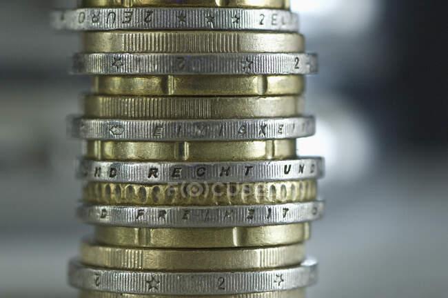 Pile de pièces en euros — Photo de stock