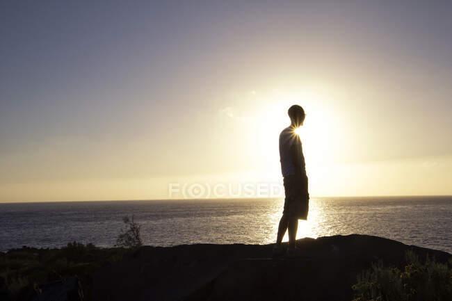 Vista trasera del hombre en el mirador, Valle Gran Grey, La Gomera, Islas Canarias, España - foto de stock