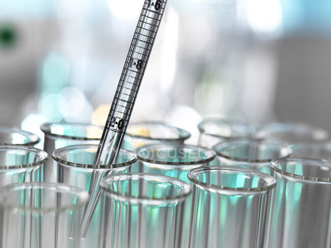 Medical samples pipetting in test tube for experiment at laboratory — Stock Photo