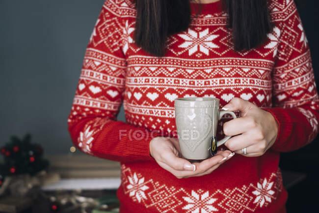 Mulher segurando xícara de chá em uma camisola de inverno — Fotografia de Stock