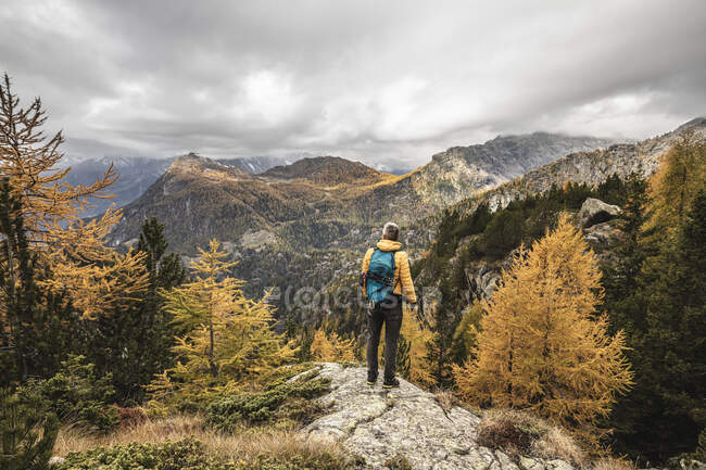 Hiker standing and looking over alpine plateau in autumn, Sondrio, Italy — Stock Photo