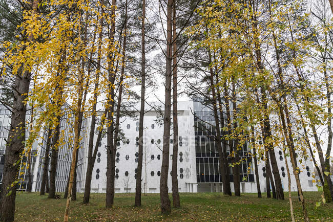 Modern building near a forest, Vilnius, Lithuania — Stock Photo