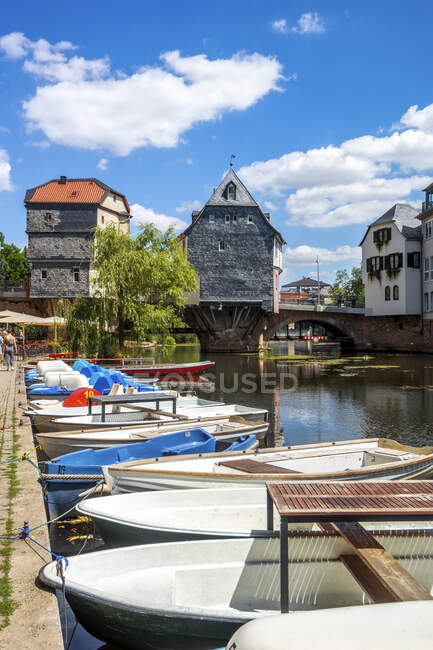 Boats moored on river at Bad Kreuznach, Germany — Stock Photo