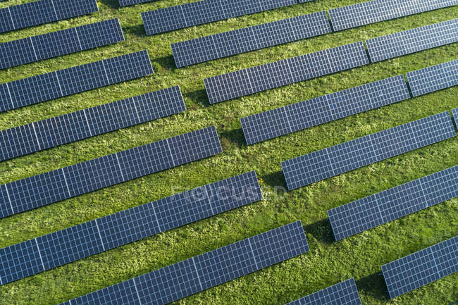 Bavaria, Germany, Rows of solar panels arranged on grass — Stock Photo