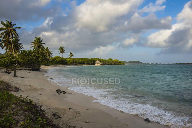 Veduta panoramica della baia di Petit Carenage contro il cielo nuvoloso a Carriacou, Grenada, Caraibi — Foto stock