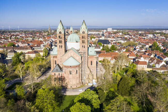 Germany, Speyer, Aerial view of Speyer Cathedral — Stock Photo