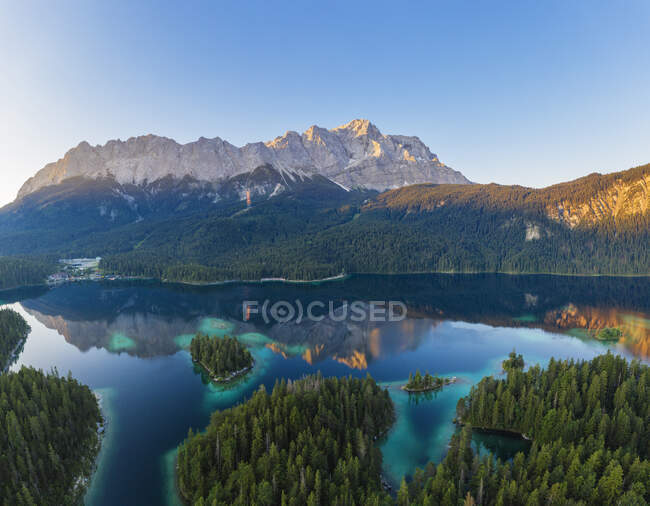 Scenic view of Wetterstein and Zugspitze against clear sky, Grainau, Werdenfelser Land, Upper Bavaria, Bavaria, Germany — Stock Photo