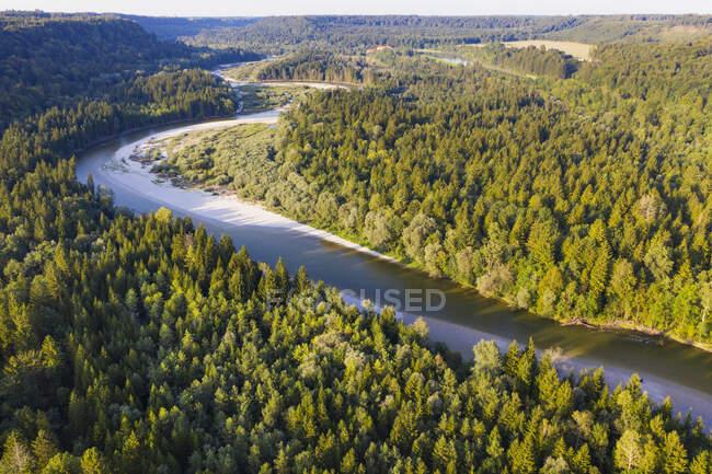 Germania, Baviera, Schftlarn, veduta aerea del fiume Isar — Foto stock