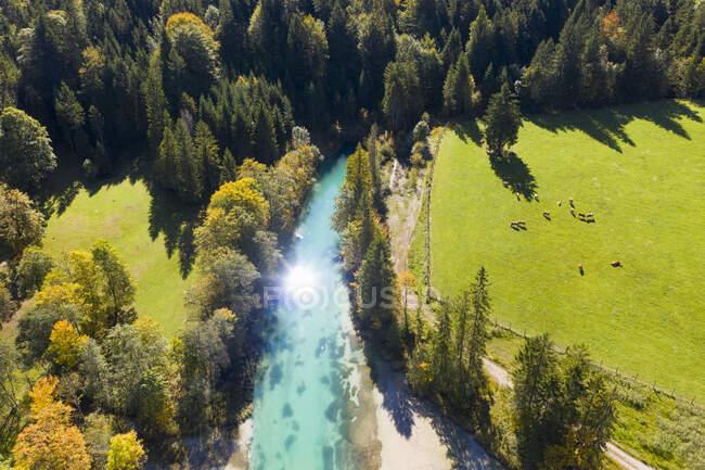 Alemanha, Baviera, Wallgau, Sol reflectindo emReservatório de Sachensee no Canal de Obernach — Fotografia de Stock