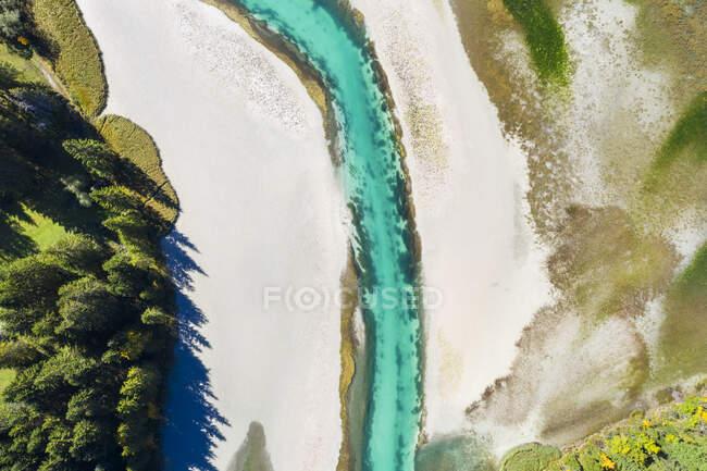 Germany, Bavaria, Wallgau, Aerial view of Sachenseereservoir onObernachCanal — Stock Photo
