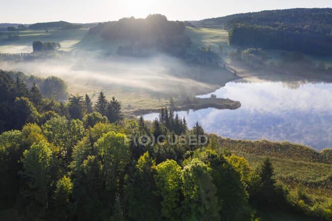 Alemanha, Baviera, Alta Baviera, Terra de Toelzer, Harmating, Vista da lagoa na paisagem na luz da manhã e névoa — Fotografia de Stock