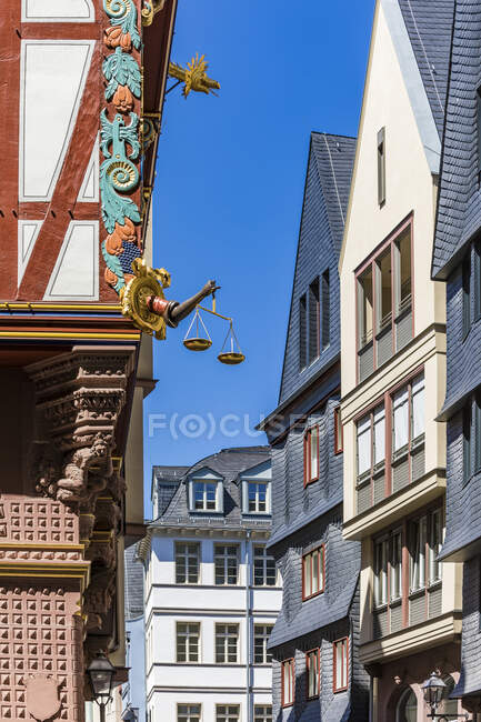 Exterior of buildings against clear sky in Frankfurt, Germany — Stock Photo