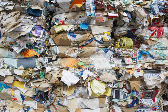 Germany, Bavaria, Stacks of waste paper and cartons — Stock Photo