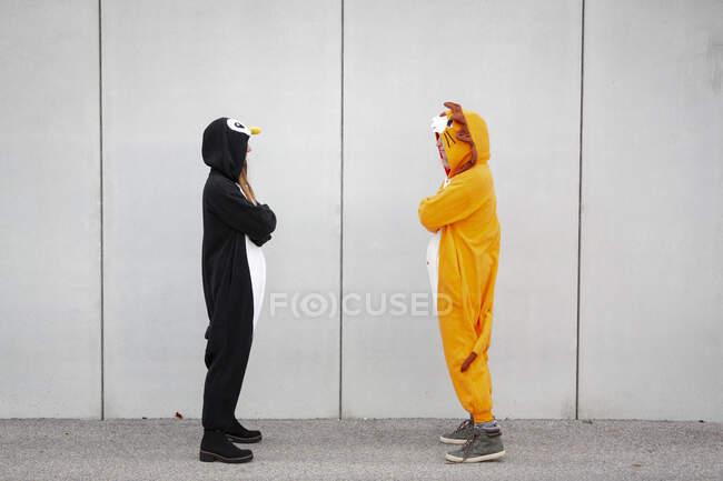 Dos mujeres en traje de pingüino y león de pie enfrente de la pared de hormigón - foto de stock