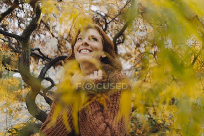 Портрет щасливої жінки восени. — стокове фото