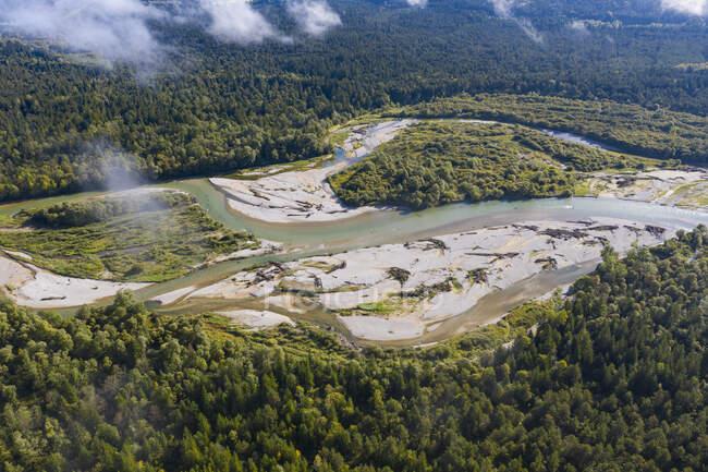 Alemania, Baviera, Pupplinger Au, Vistas panorámicas del río Isar rodeadas de bosques verdes - foto de stock