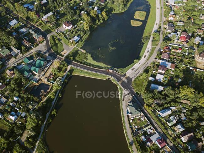 Vista aérea de la ciudad de Sergiev Posad, Moscú, Rusia - foto de stock
