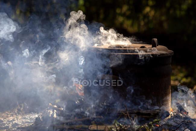 Making of Terra preta in the garden — Stock Photo
