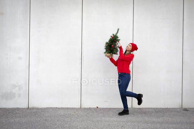 Жінка у червоному светрі й вовняному капелюсі тримає штучне різдвяне дерево перед стіною. — стокове фото