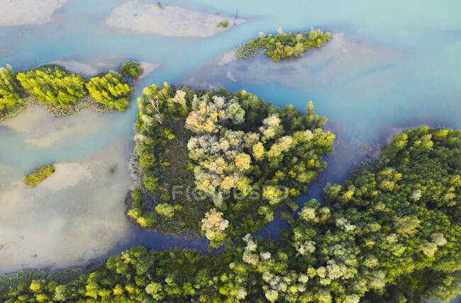 Aerial view of Isar reservoir at Bad Toelz, Germany — Stock Photo