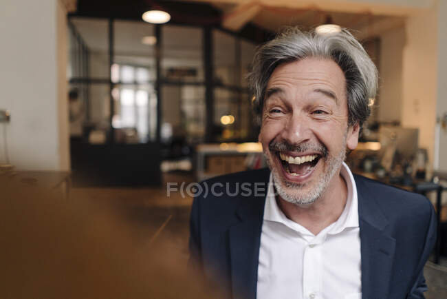 Portait of laughing senior businessman in office — Stock Photo