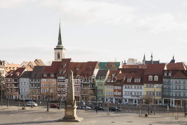 High angle view of residential buildings and church against sky in Erfurt, Germany — Stock Photo