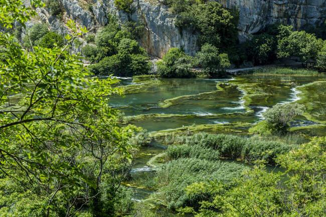 Croatia, Green pond in Roski Slap National Park — Stock Photo