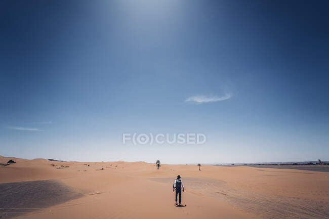 Lonely man with hat walking in the dunes of the desert of Morocco — Stock Photo