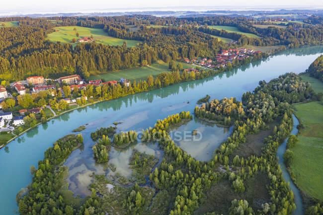 Vista aérea do reservatório de Isar em Bad Toelz, Isarwinkel, Alemanha — Fotografia de Stock