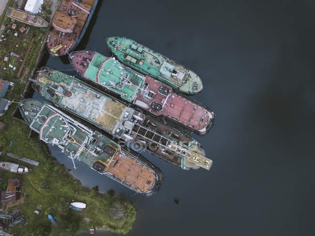 Снимки беспилотников в Ладожском канале на верфи, Шлиссельбург, Россия — стоковое фото