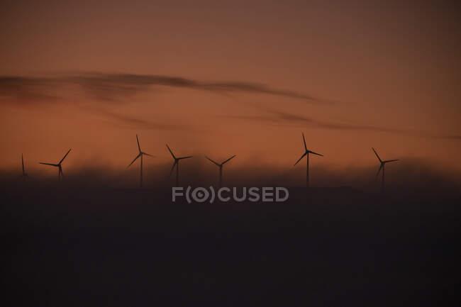 Испания, провинция Кадис, Тарифа, силуэты ветряных турбин, стоящих против угрюмого неба на туманном рассвете — стоковое фото
