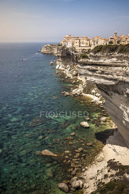 Rocce calcaree, Bonifacio, Corsica, Francia — Foto stock