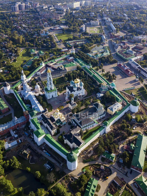 Drone view of Trinity Lavra of St. Sergius in town, Moscow, Russia — Stock Photo