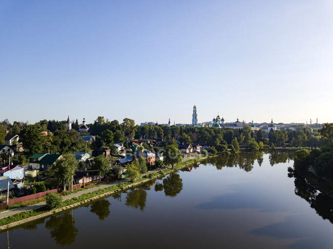 High angle view of river against clear sky in town, Moscow, Russia — Stock Photo